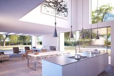 Interior design of the Woodpeckers in New Forest, England by Strom Architects Modern Kitchen Design, Modern Interior Design, Interior Design Kitchen, Kitchen Decor, Kitchen Designs, Interior Exterior, Interior Architecture, Apartment Chic, Bright Kitchens