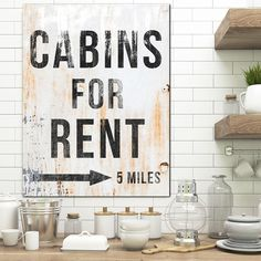 Cabins for Rent Farmhouse Wall Decor Canvas Art - Canvas Print Vintage Sign Wall Art - Vintage Cabin Sign for Lake House or Kitchen Farmhouse Wall Art, Rustic Wall Art, Modern Farmhouse Kitchens, Modern Farmhouse Style, Farmhouse Decor, Industrial Wall Art, Vintage Industrial Decor, Kitchen Trends 2018, Cabin Signs