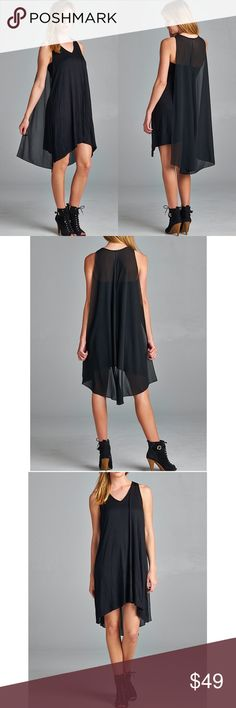 """""""Finder's Keepers"""" Little Black Cape Dress Jersey cape dress with a chiffon cape. True to size. Brand new. NO TRADES Bare Anthology Dresses Mini"""