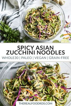 Spicy Asian Zucchini Noodles zucchini noodles paleo dinner recipe vegan recipe grain-free zucchini noodles healthy dinner recipe easy dinner recipe The Real Food Dietitians Paleo Dinner, Healthy Dinner Recipes, Raw Vegan Dinners, Real Food Recipes, Vegetarian Recipes, Vegan Zoodle Recipes, Cena Paleo, Recetas Whole30, Fettucine Alfredo