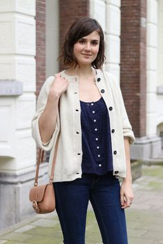 Blue blouse, jeans and cream cardigan