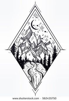 Hand drawn nature pine forest with mountains landscape, beautiful river, sky with sacred geometry elements. . Isolated vintage vector illustration. Invitation. Tattoo, travel, adventure, retro symbol.