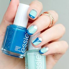 Blue and Silver Nail Design for Short Nails