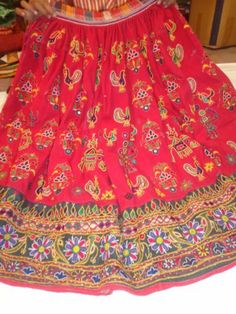 Vintage Kuchi Rabari Banjara Lehenga Tribal Ethnic Belly Dance Mirror Art Skirt