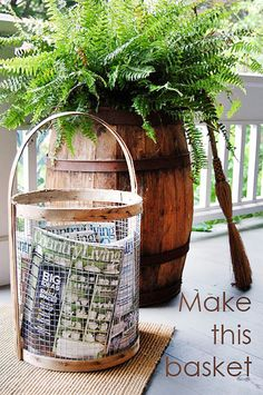 DIY Furniture Store KnockOffs - Do It Yourself Furniture Projects Inspired by Pottery Barn, Restoration Hardware, West Elm. Tutorials and Step by Step Instructions | Supercool Basket Copycatting Country Living Magazine #diyfurniture #diyhomedecor #copycats
