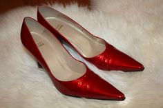 Red patent leather Stuart Weitzman pumps