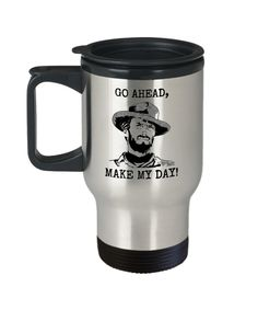 Excited to share the latest addition to my #etsy shop: Cowboy Travel Mug, Clint Eastwood Cup, Gift Idea For Western Movies Fans, Go Ahead Make My Day, 14oz Silver, Stainless Steel https://etsy.me/2Km8zRl #housewares #silver #yes #metal #cowboytravelmug #clinteastwood