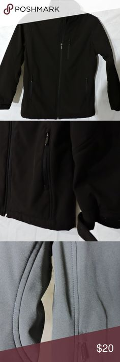 """Black Rivet Womens Juniors Black Jacket Dark Black Rivet Womens Juniors Black Jacket Size XL Zipper Detail Lined Fitted   This is a very slim jacket in amazing condition. Exterior fabric has a slick but not shiny appearance. Well Made! Warm soft interior.. Please see measurements!! Hook and Loop wrist fasteners. Wears like a medium. 100% Polyester  Please refer to actual measurements to ensure fit.  Shoulder to Shoulder: 16"""" (40.64 cm) Underarm to Underarm: 19"""" (48.26 cm) Shoulder to Hem…"""