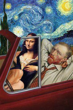 Vincent van Gogh and the Mona Lisa are much closer than we are . - Vincent van Gogh and the Mona Lisa are much closer than we previously thought. Vincent Van Gogh, Memes Arte, Art Memes, Paintings Famous, Classic Paintings, Funny Paintings, Famous Artists, Arte Pop, Art Inspo