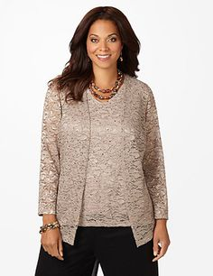 Classically feminine, our lovely lace twin set gives you a sweater and tank for the price of one beautiful piece. Allover textured lace gives a elegant, feminine feel. Subtle sparkle adds a brilliant twist. Openfront. V-neckline. Long sleeves. Catherines tops are designed for the plus size woman to guarantee a flattering fit.<br /> <br /> FREE RETURN<br /> You can ship this style back to us for FREE!<br /> A free return shipping label will be provided with your order. catherines.com