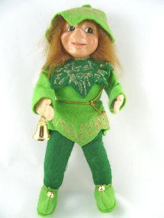 "Leprechaun Elf Pixie Doll Red Hair Green Felt Body Wire Arms Legs 12"" Tall #Unbranded"