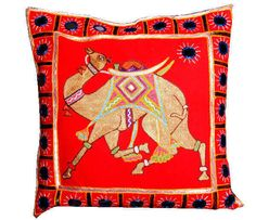 Ethnic cushion cover with animal print - combination of orange and blue  Product ID_ CC8001