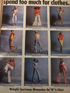 1973 ad for Wrangler jeans. Denim. Vintage. Women's.