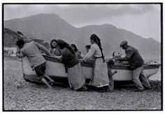 Beaching a fishing boat, Karpathos, Greece, 1964 - Greek America Foundation; Photograph by Constantine Manos, Magnum Photographer