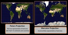 Spatial Literacy: Peters vs Mercator Who knew there were different ways of mapping the world? Very interesting to see the differences. World Political Map, Continents And Countries, Meaningful Quotes About Life, Us School, Area Map, Projection Mapping, World Geography, African Diaspora, My Heritage