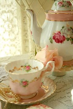 pretty teacup and teapot