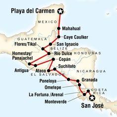 Karte der Route für Das Beste von Mittelamerika