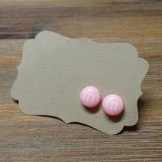 Pale Pink M&M Stud Earrings  Happy Ears Plastic by HappyEarsAUS, $5.00