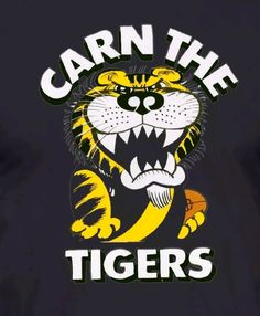 Richmond Afl, Richmond Football Club, Good Thoughts About Life, Tiger Quotes, Tigers, Party Ideas, Strong, Yellow, Logos