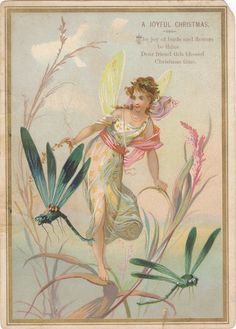 Joy of Birds and Flowers Be Thine- A Joyful Christmas- Fairy Woman and Dragonflies- Victorian Fantasy- 1800s Antique Trade Card- Lithograph