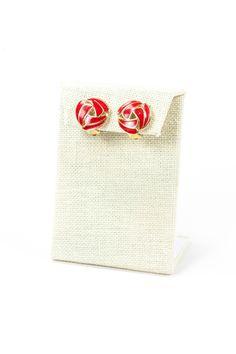 60's__Vintage__Red Swirl Earrings