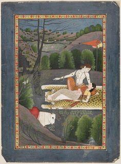 SHIVA WATCHES PARVATI SLEEP  ABOUT 1780–90  GARHWAL OR KANGRA, PUNJAB HILLS, NORTHERN INDIA