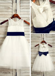 [US$ 45.99] A-Line/Princess Tea-length Flower Girl Dress - Tulle/Lace Sleeveless Scoop Neck With Sash/Bow(s)/Back Hole
