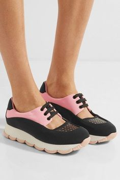 Rubber sole measures approximately 25mm/ 1.5 inches Black and pink neoprene, black leather Lace-up front Made in Italy