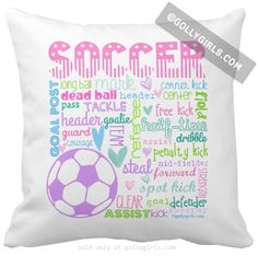 Golly Girls: Soccer Pastel Typography Throw Pillow only at gollygirls.com