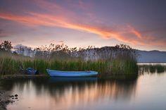 Sunrise in small lake Prespa, National Park Prespes, Florina, Macedonia Greece. Custom Jigsaw Puzzles, Macedonia Greece, Colorful Clouds, Small Lake, Paradise On Earth, Thessaloniki, Small Island, Amazing Destinations, Sunrise