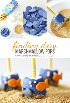 Disney: Finding Dory Marshmallow Pops - See Vanessa Craft Disney Finding Dory, Disney Pixar, Finding Nemo, Dory Cake, Bubble Guppies Birthday, Marshmallow Pops, Party Decoration, Holiday Treats, First Birthdays
