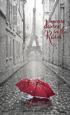 """P. Graham Dunn """"Learn to Dance in the Rain"""" 15.5'' x 9'' Eiffel Tower in Paris Wood Plank Wall Plaque"""