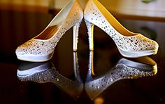 We love this bedazzled alternative to traditional white heels #wedding #shoes