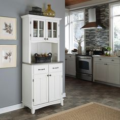 """Home Styles 35-1/2""""H x 29-1/4""""W x 15-7/8""""D Buffet with Stainless Steel Top & 2 Door Hutch - White Finish at Sears.com"""