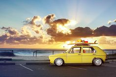 yellow mk1 yellow volkswagen rabbit with surfboard
