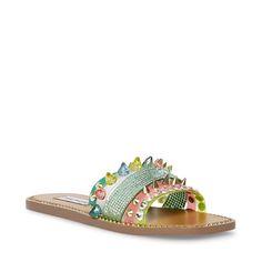 LEANDRA MULTI – Steve Madden Kid Shoes, Men's Shoes, Steve Madden Store, Palm Beach Sandals, Heels, Embellishments, Stones, Silhouette