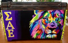 Sigma Alpha Epsilon SAE, lion, painted cooler, formal, My fav side of this cooler. Sae Fraternity, Fraternity Crafts, Fraternity Formal, Fraternity Coolers, Frat Coolers, Sorority Canvas, Sorority Paddles, Sorority Crafts, Sorority Recruitment