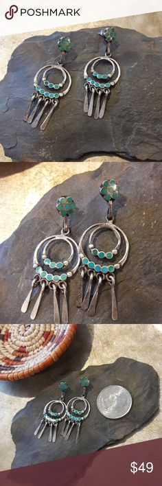 Vintage Zuni Dishta Turquoise Silver Earrings Super old, and amazing!!! This are a great treasure.  Very beautiful and dainty, no markings but they are Zuni and Dishta. Pierced backs. Vintage Jewelry Earrings