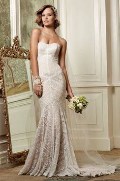 Wtoo Brides Pippin Gown A Modern Approach To Vintage Look This Slim Fit And Flare Is Accented With Geometric Lace Pattern