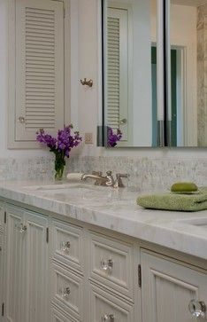 Shallow storage cabinet built into wall - Cozy Cottage - traditional - bathroom - san diego - Gatling Design