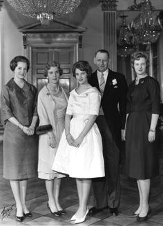 Princess Anne-Marie of Denmark (later Queen Anne-Marie of Greece) at her confirmation with her parents, King Frederik IX and Queen Ingrid and her sisters, Princess Margrethe, (later Margrethe II of Denmark) and Princess Benedikte on March 24, 1961