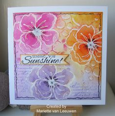 Magenta: Nuance flowers - white emboss then WC Nuance powders onto flowers & draw color out to background.