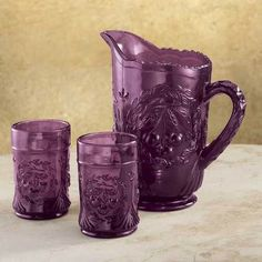 purple depression glass | Amethyst Purple Pitcher Juice Glasses Cherry Pattern