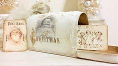 Christmas Decor, Christmas Mailbox, Cottage Chic Christmas, Shabby Chic Christmas by DevineImagination on Etsy https://www.etsy.com/listing/209190172/christmas-decor-christmas-mailbox