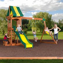 2 swings, 1 set rings. Walmart: $349 Backyard Discovery Weston Cedar Swing Set