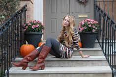 Happy Thanksgiving to all my Canadian readers. I spent the long weekend up north, cozied up under an aztec-printed shawl, my favourite new Frye boots and plenty of cranberry sauce and pumpkin pie filling in my tummy. This outfit was inspired by fall and the start of the holiday season. I'm wearing an IKAT-printed sweater …