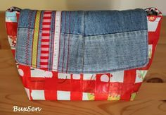 Tasche aus Plastiktüten und alter Jeans / Bag made from plastic bags and old jeans Upcycling