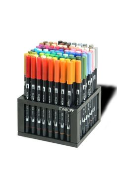 Amazon.com: Tombow Dual Brush Pen Set, Professional Marker Desk Set with Stand, 96 Piece (56149): Office Products