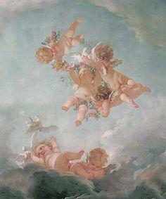 Cherubs wallpaper fresco
