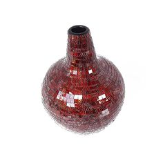 Himeros Vase VAS002 - Glass Mosaic ( Maroon Red with Batik ) - Top Angle Elevation - Dimensions : Height - 44 cm ( Overall ) Bottom - Diam. 19 cm Top : Diam. 7 cm
